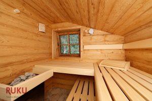 klassische Sauna mit Ofen und Fenster